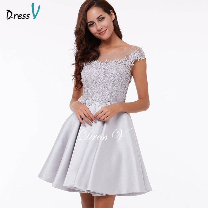 Dressv Homecoming Dress Cheap Peach A Line Mini Appliques Cocktail