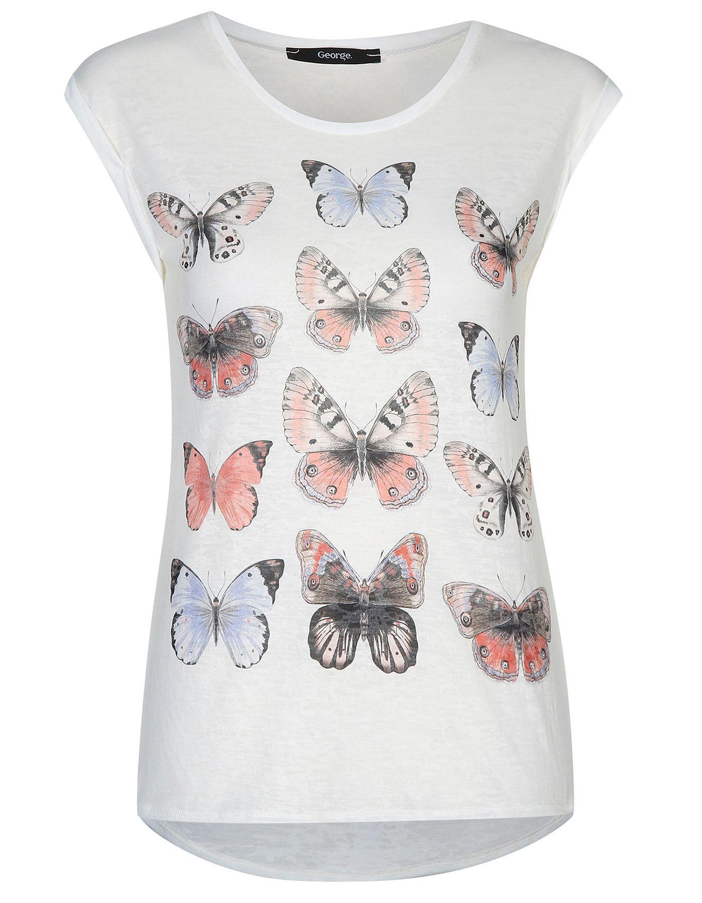 Black t shirt asda - Butterfly Print T Shirt