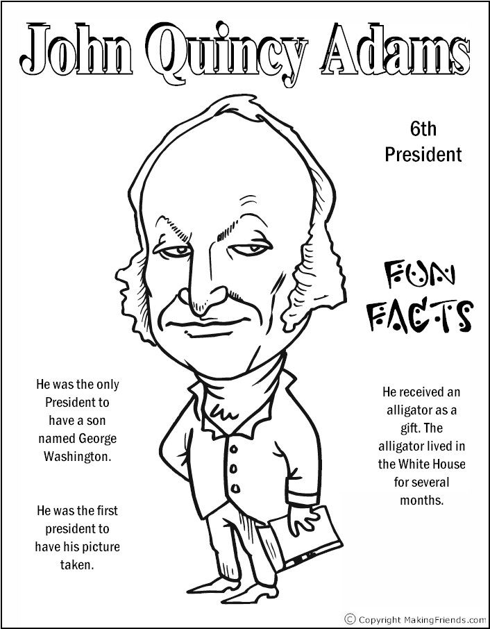 John Quincy Adams Coloring Page Coloring Pages Pinterest