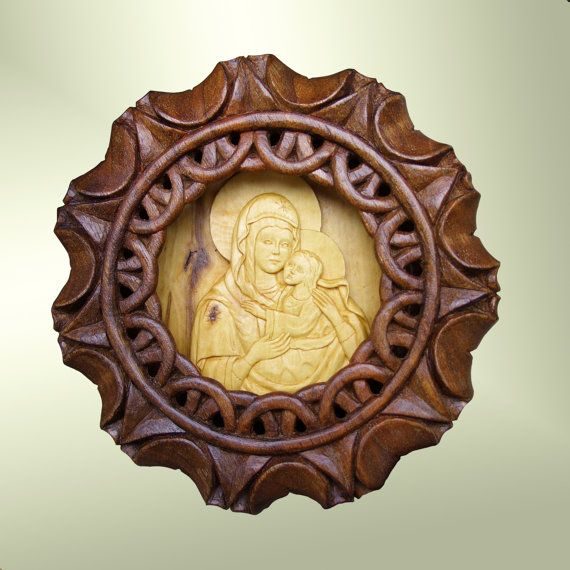 Virgin Mary and baby Jesus, Art Wood Carving, Orthodox, Christian ...