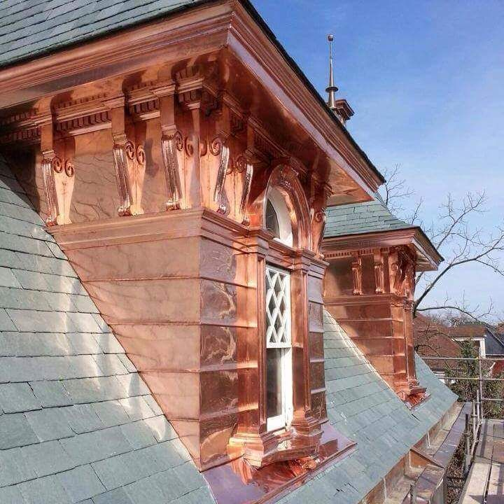 Stunning Slate Roof With Copper Detailing On A Historic Home In St Louis Mo Roof Design Copper Roof Copper In Architecture