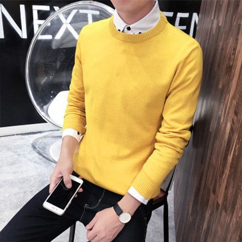 Spring autumn O neck long sleeve sweater men Korean Style thin casual slim solid pullover sweaters Plus size XXXL L345