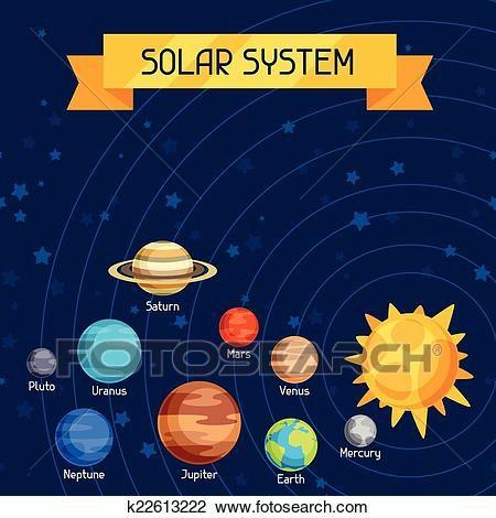Photo of 宇宙, イラスト, ∥で∥, 惑星, の, ∥, 太陽, system. クリップアート(切り張り)イラスト「絵画」集 | k22613222