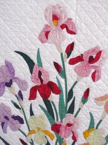 Vintage Appliqued Irises Quilt Ebay Applique Quilts