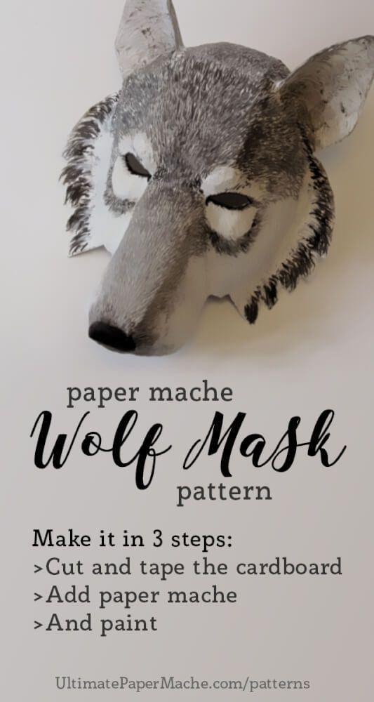 paper mache wolf mask pattern   Wolf mask, Wolf craft ...