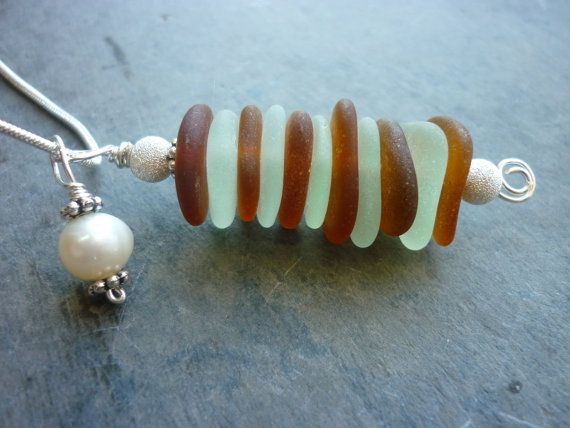 Sea Glass Necklace  Stacked Pendant