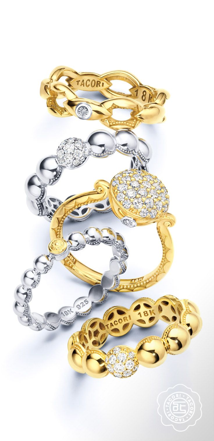 Sweet fashionable stacking rings in silver and gold From The Ivy