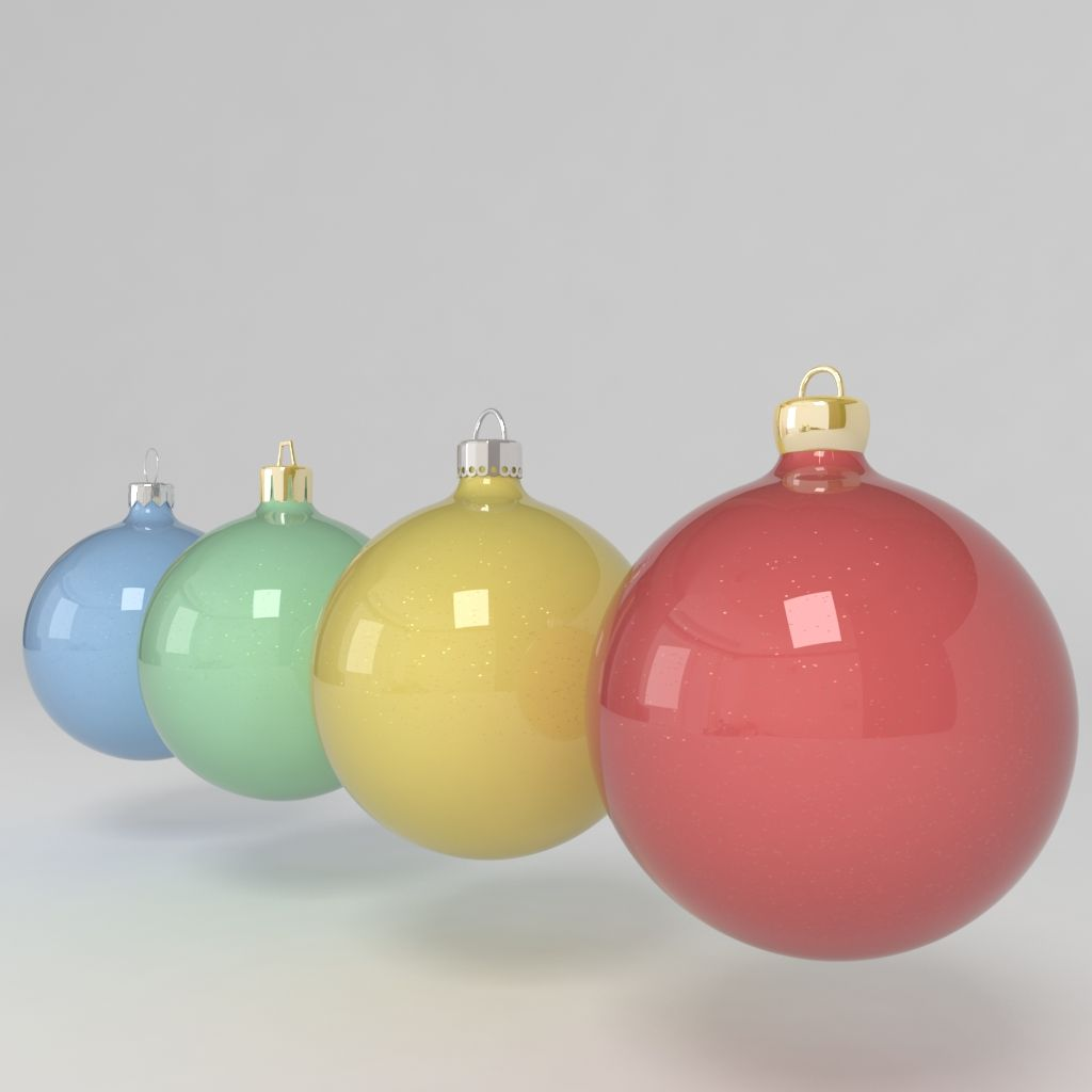 3d Model Christmas Ball Decoration Colored Tree Decoration Noel Celebration Blue Green Yellow Red Reflec Christmas Balls Christmas Christmas Bulbs