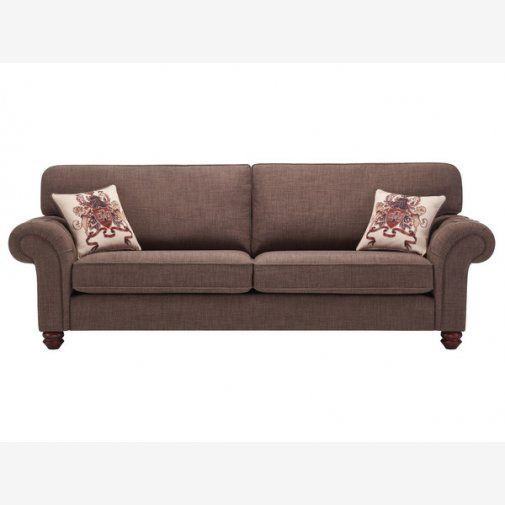 Sofa Beds Sandringham Extra Large High Back Sofa in Brown with Beige Scatter