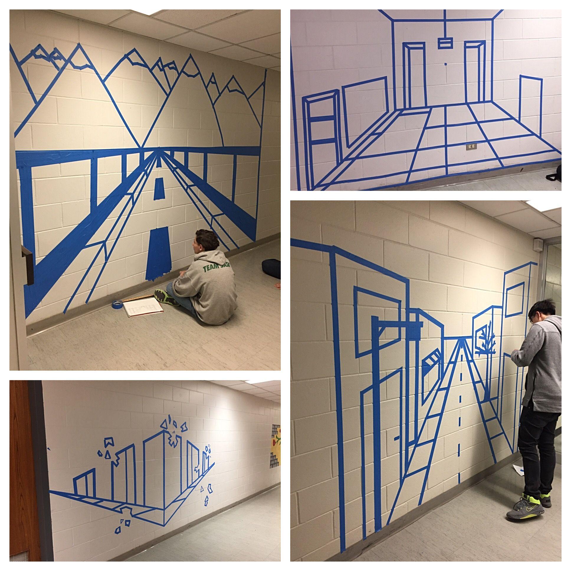 Perspective Tape Wall Murals Grade 9 Scchs Art Art Lesson Plans Middle School Middle School Art Projects Art Lessons Middle School