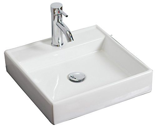 American Imaginations Ai 15 595 Above Counter Square Vessel For Single Hole Faucet 17 5 Inch X