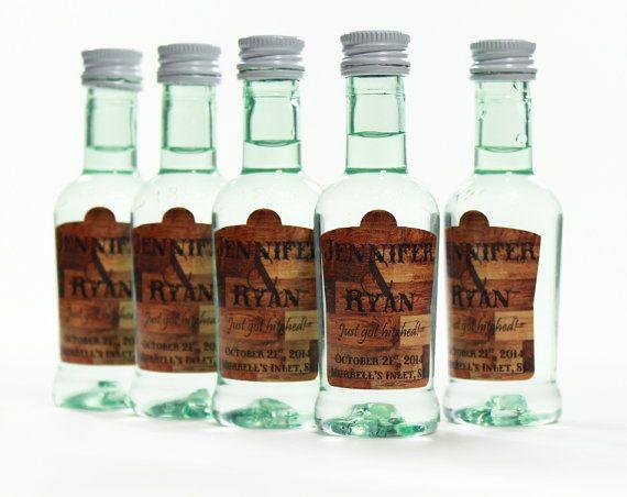 Outdoor Wedding Favors Custom Bacardi Mini Bottle Labels by skoodo