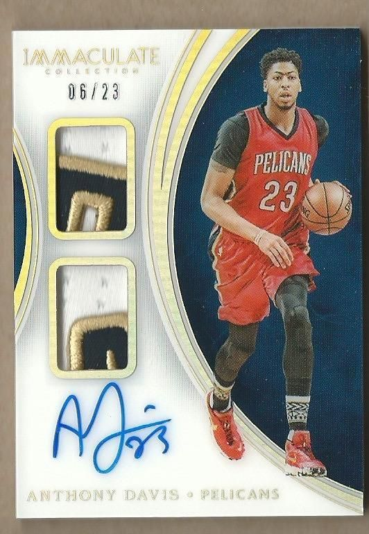 2015-16 IMMACULATE ACETATE ANTHONY DAVIS AUTO DUAL PATCH 06 23 ... 16a0649b9