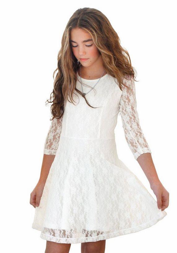 5921bd97e7a20f arizona jurk met mouwen van elastische kant beige