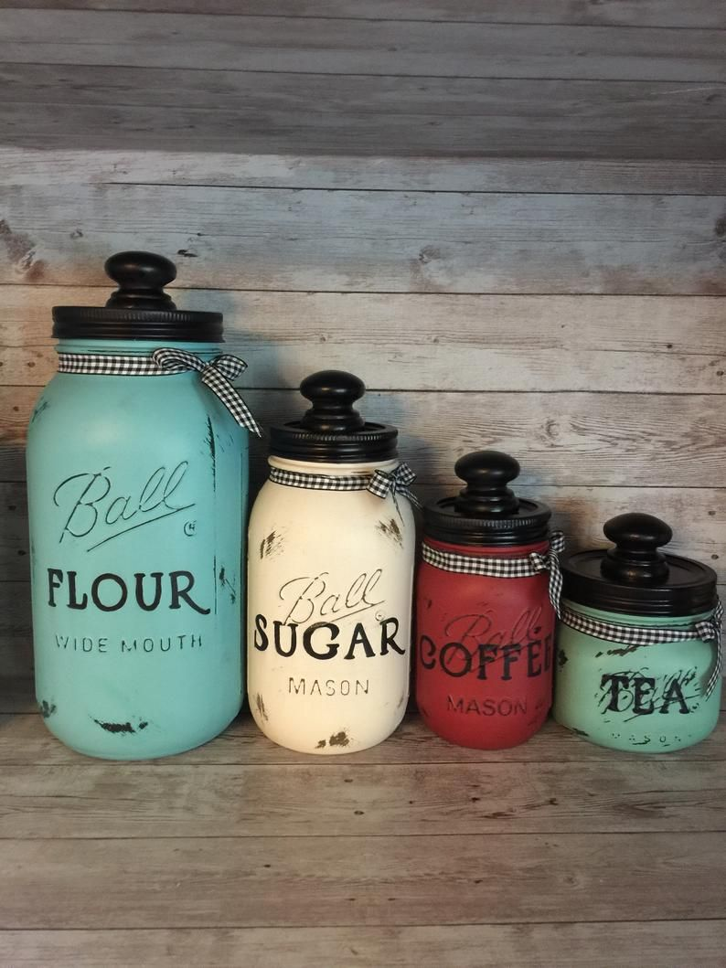 Multi color Mason Jar Canisters with Ribbon