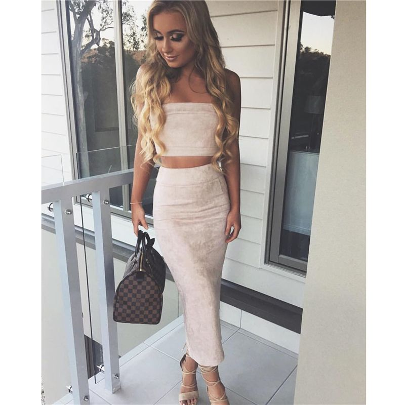 Sexy Crop Top and Skirt Set Suede Two Piece Set 2017 Spring 2 Piece Set  Women Strapless Cropped Tops Pencil Skirt Long Women Set – One stop final  ...