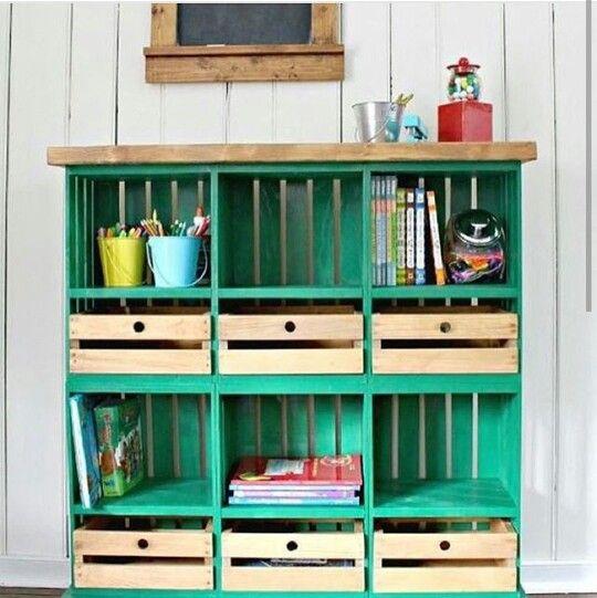 Mueble hecho de guacales vintage organizacion casa for Casa garcia muebles