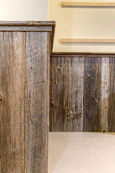 Barn wood chair rail in kitchen.   Basement ideas   Pinterest