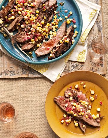 Grilled Flank Steak with Corn Relish. #food #meat #beef #dinner