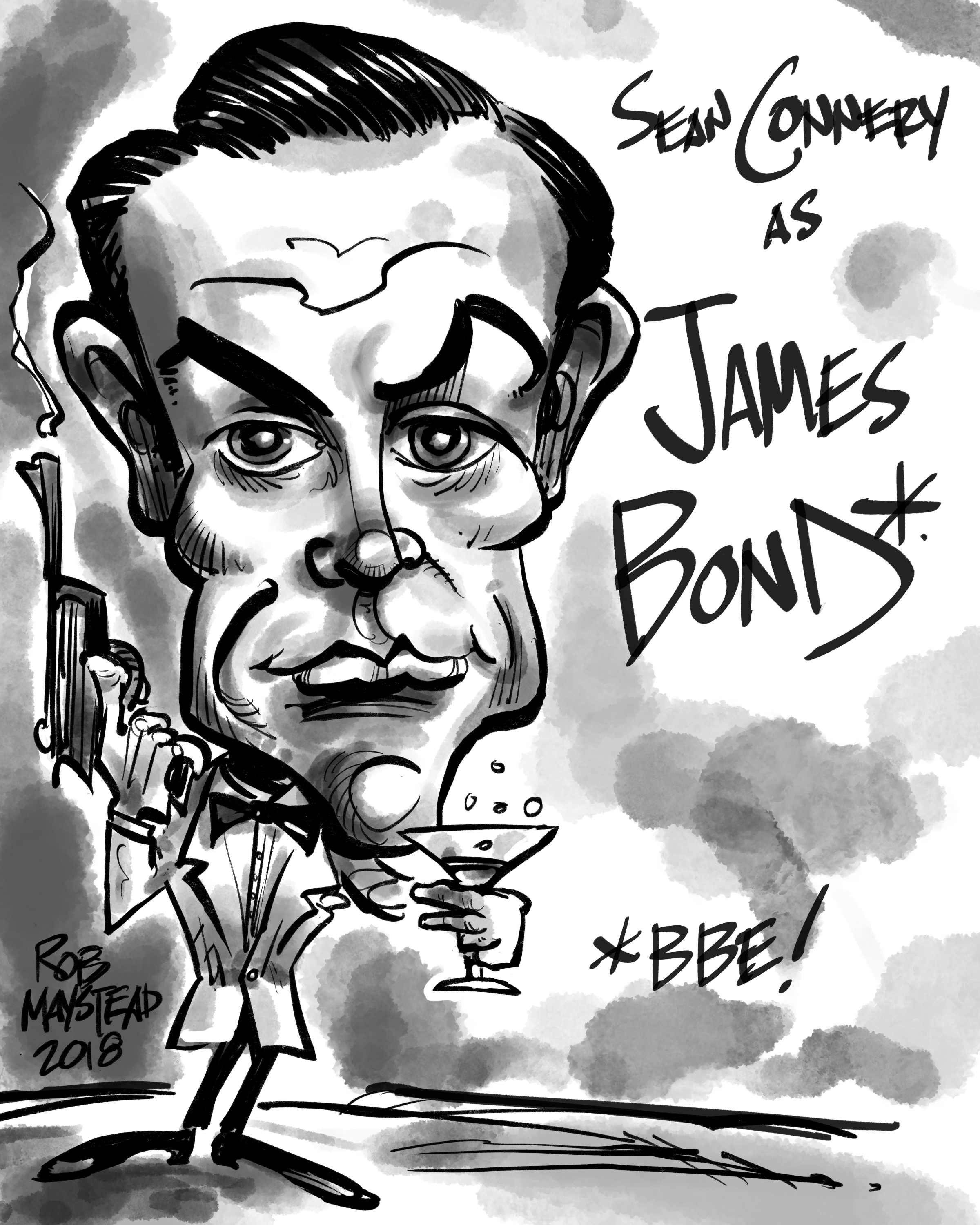 Sean Connery As James Bond Celebrity Drawings Caricature