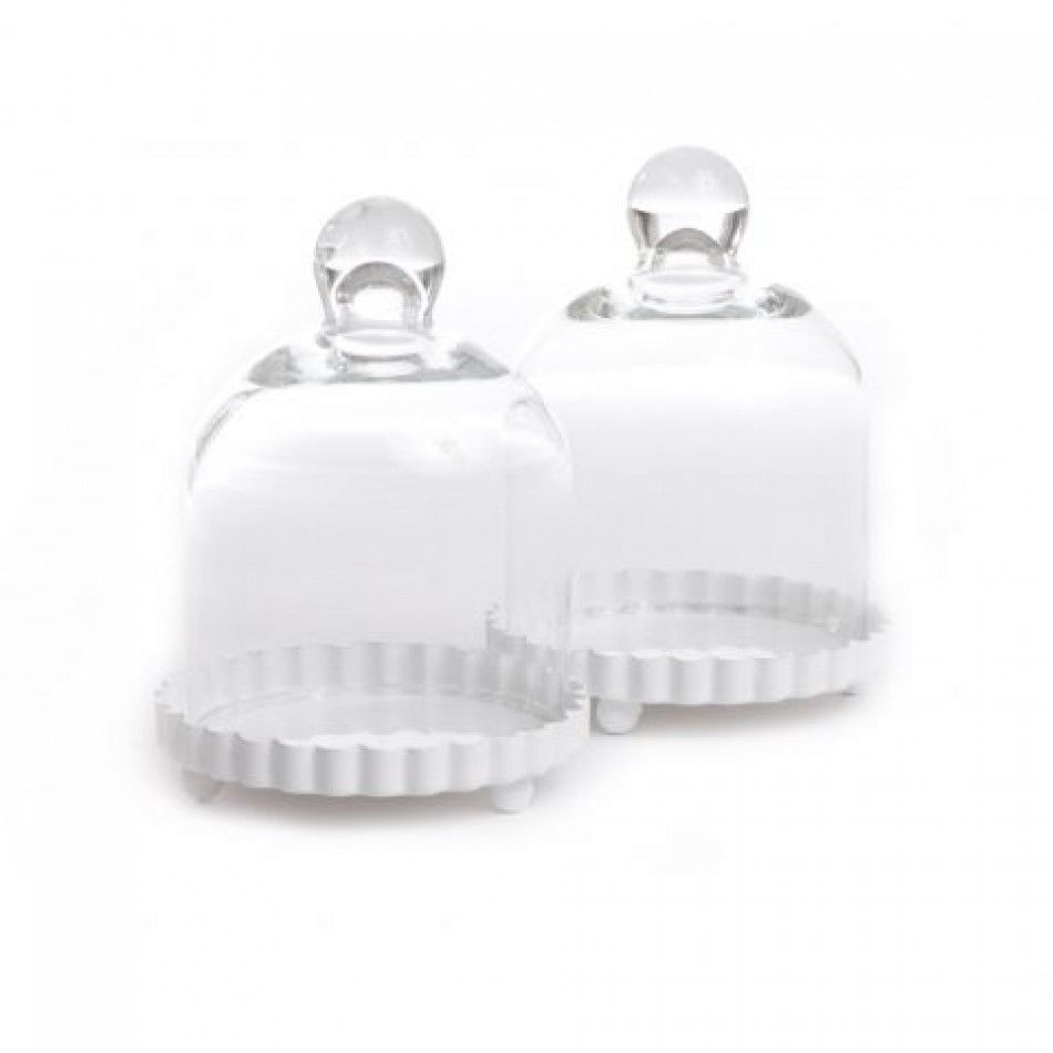 Miniature Glass Bell With White Fluted Base (Set of 4) [977-9237 ...