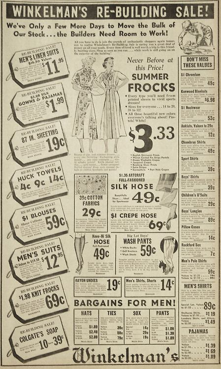 June 22, 1936 - Winkelman's rebuilding sale advertisement for clothing, summer frocks.