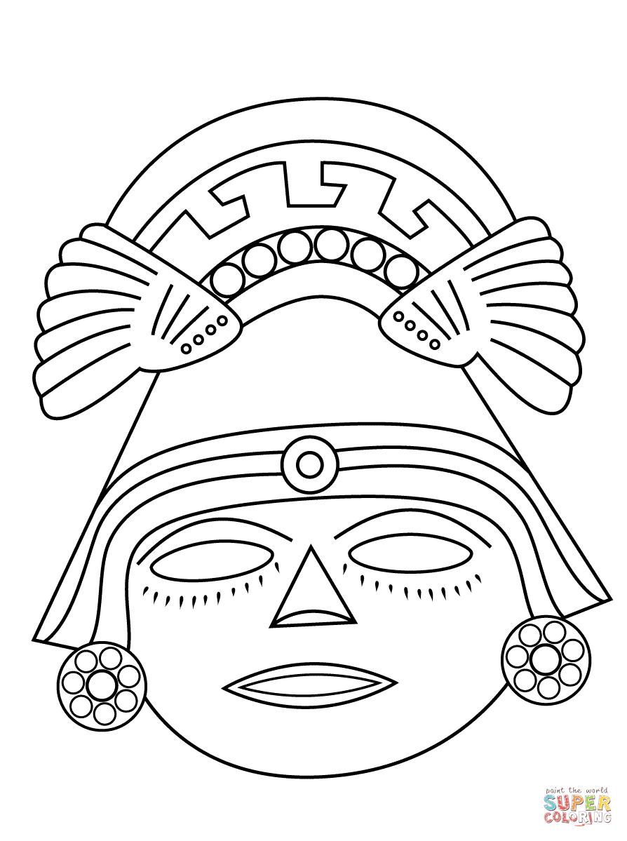 Aztec Mask Super Coloring Aztec Mask Aztec Art Mayan Mask