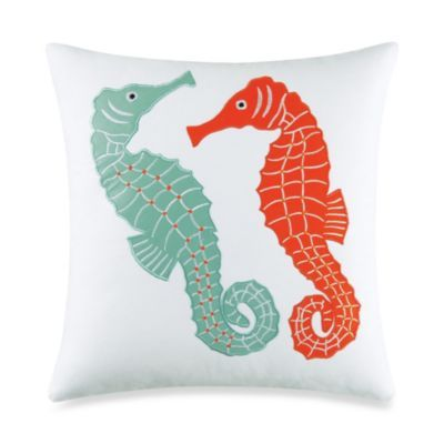 Catalina Seahorse Applique Square Toss Pillow in Coral - BedBathandBeyond.com
