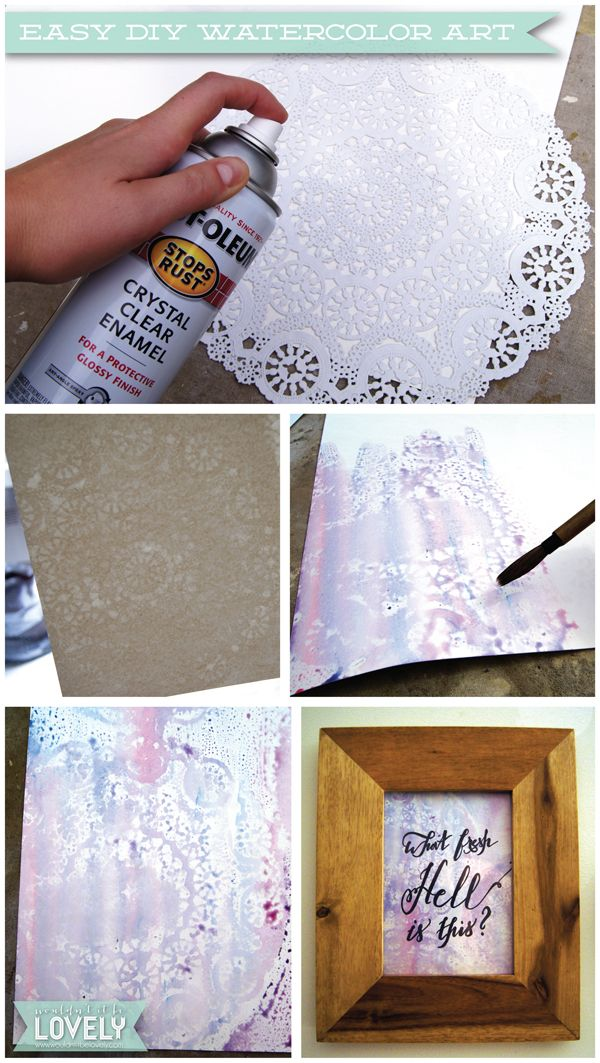 Diy Lace Watercolor Art Easy Art Projects Watercolor Art Diy