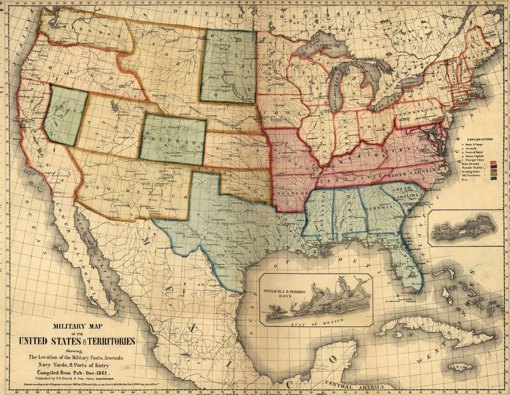Military MAP United States Mexico Texas Army Locations - 1861 us map mason dixon line