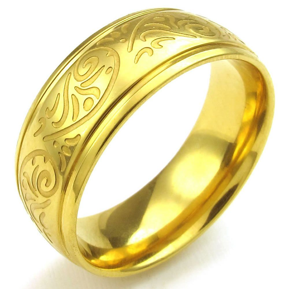 KONOV Jewelry Mens Stainless Steel Ring, Engraved Florentine Design Charm 8mm Band, Gold, Size 7