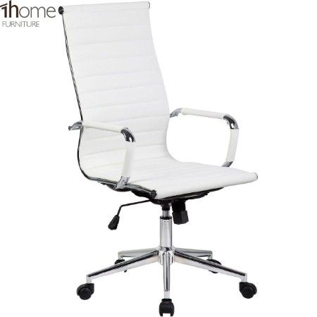 1home Cosmo White Leather Back Office Gaming Executive Computer Desk