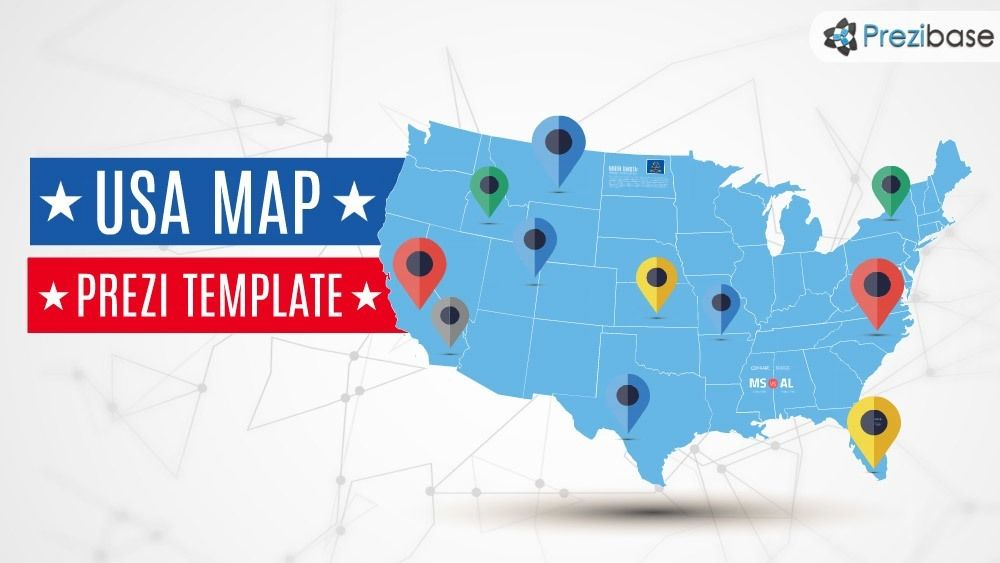 Usa America States Map Prezi Template  Prezi Templates