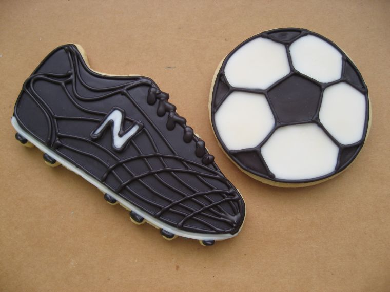 Soccer Cleat - Soccer cleats and balls made for the soccer end of the year party. Toba's icing over butter cookies.