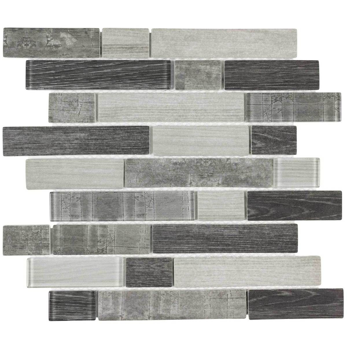 mto0335 modern linear gray glossy wood grain recycled glass mosaic rh pinterest com