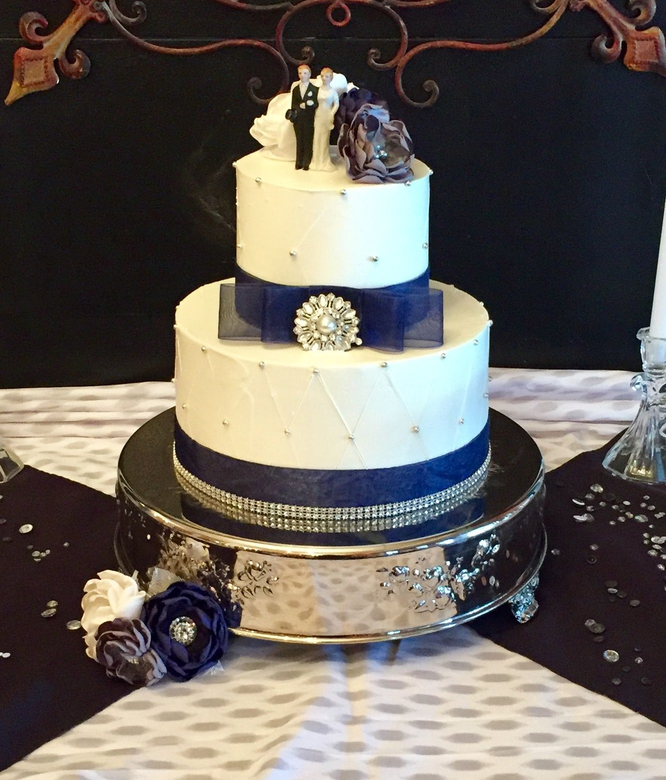 Simple Buttercream Wedding Cake With Quilted Design Family Heirloom Porcelain Br Wedding Cakes Simple Blue Wedding Cake Navy Wedding Cake Simple Buttercream