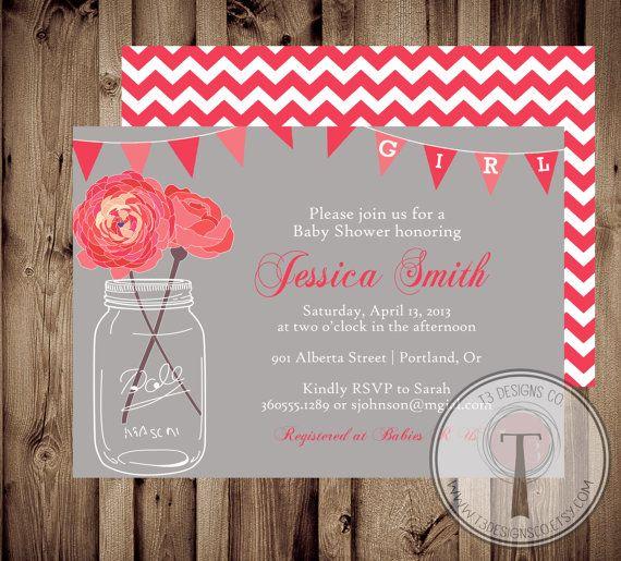 baby girl baby shower invitation baby shower invite mason jar baby rh pinterest com