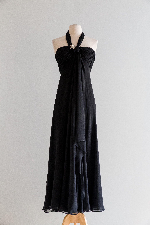 Vintage 1970s Dress 70s Black Silk Chiffon Halter Dress By Designer Bill Blass Xs Chiffon Halter Dress Silk Evening Dress Evening Dress Fashion [ 3000 x 2000 Pixel ]