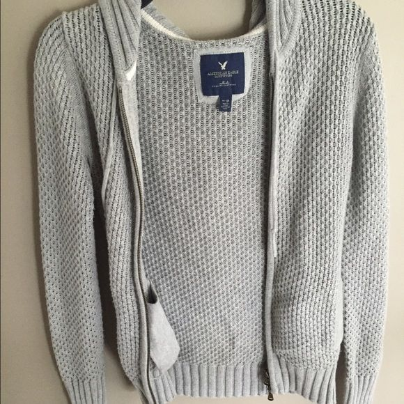 American Eagle grey jacket/cardigan Knit AE grey jacket/cardigan, good condition. Can fit an xs or s American Eagle Outfitters Sweaters Cardigans