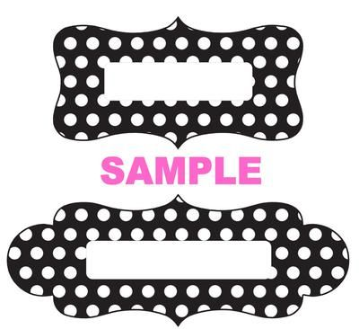 Label Sample  Black White Dots Unique Name Plate Tags And Labels