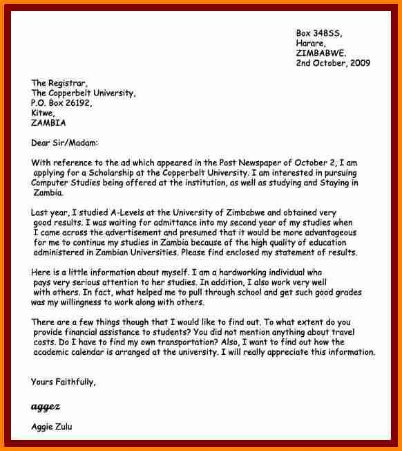 how write application letter example form zambia Home Design - scholarship cover letter examples