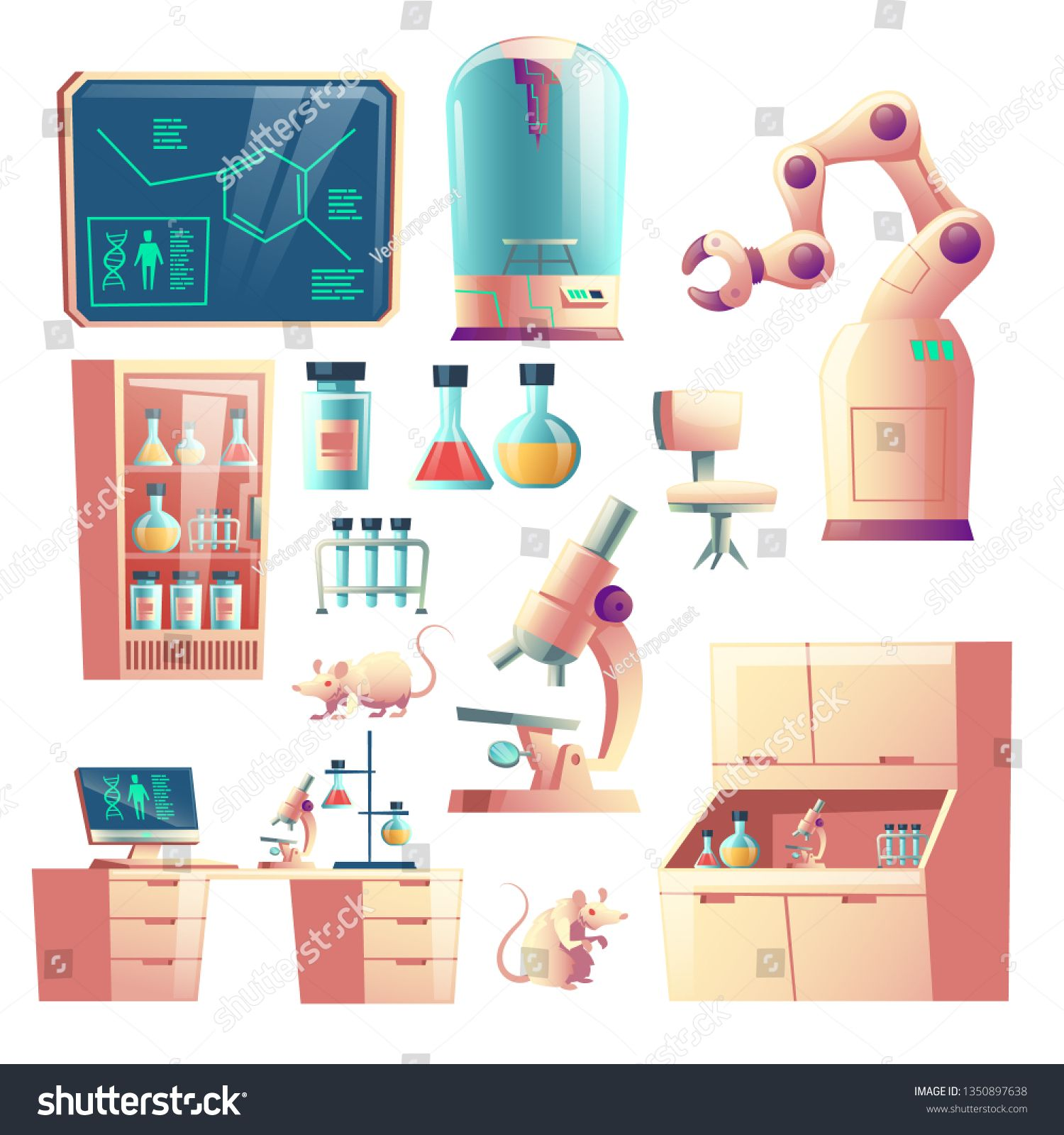 science genetic laboratory equipment glassware and tools cartoon vector set isolated on white background labor flask illustration glass flask cartoons vector pinterest