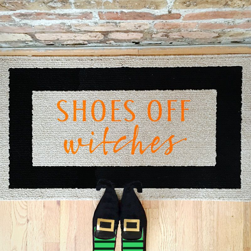 Shoes Off, Witches Hand Painted Door Mat / Area Rug 20x34 U2014 Be There In