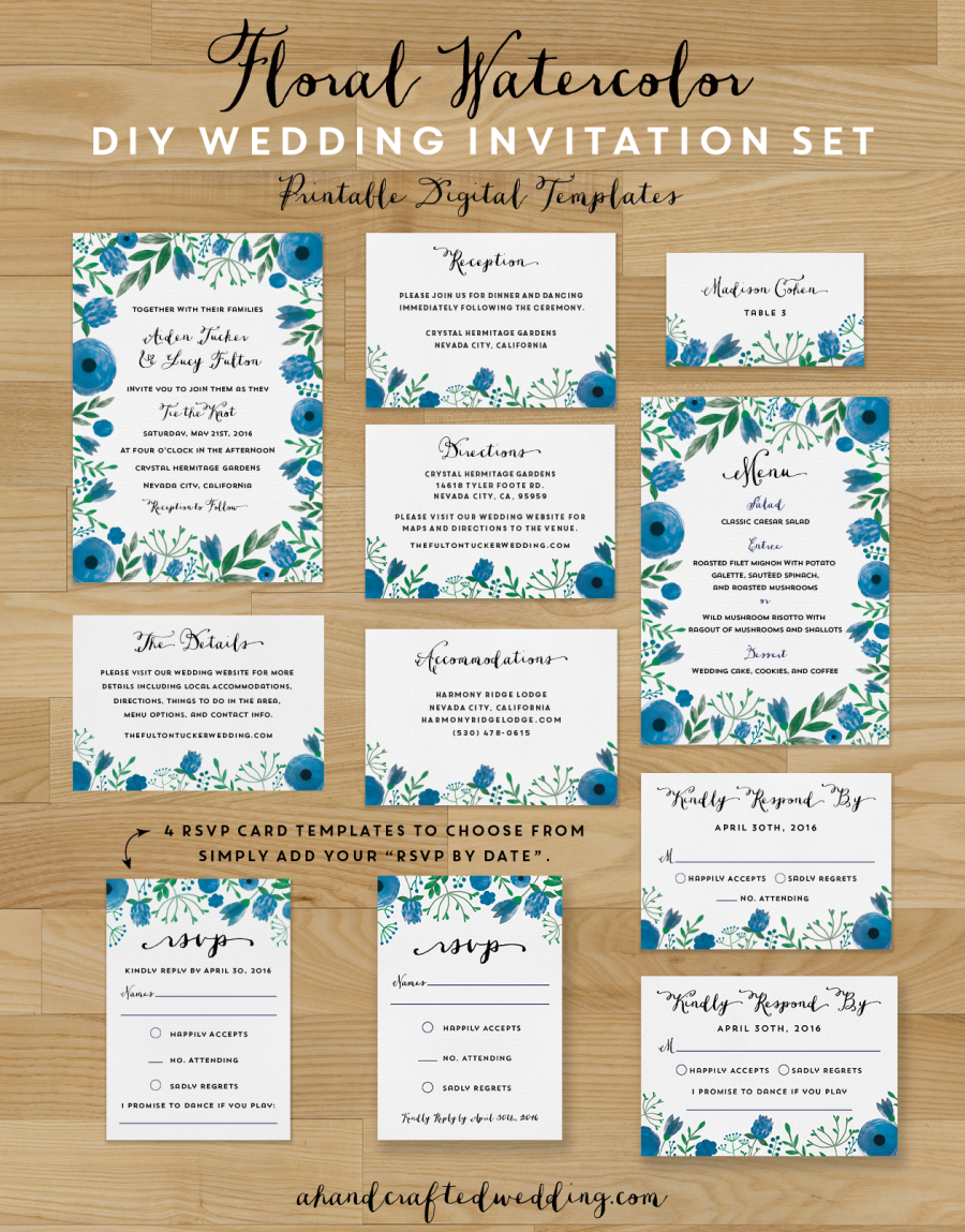 Download this whimsical DIY Floral Watercolor Wedding Invitation Set ...