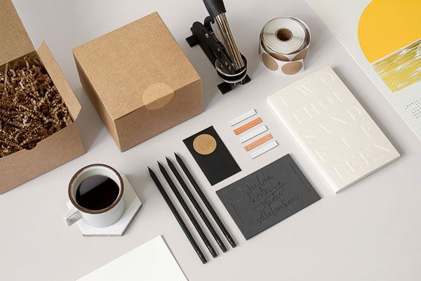 Packaging and stationery around Julia Kostreva's studio and shop. Julia Kostreva is a California based art director and graphic designer with a passion for
