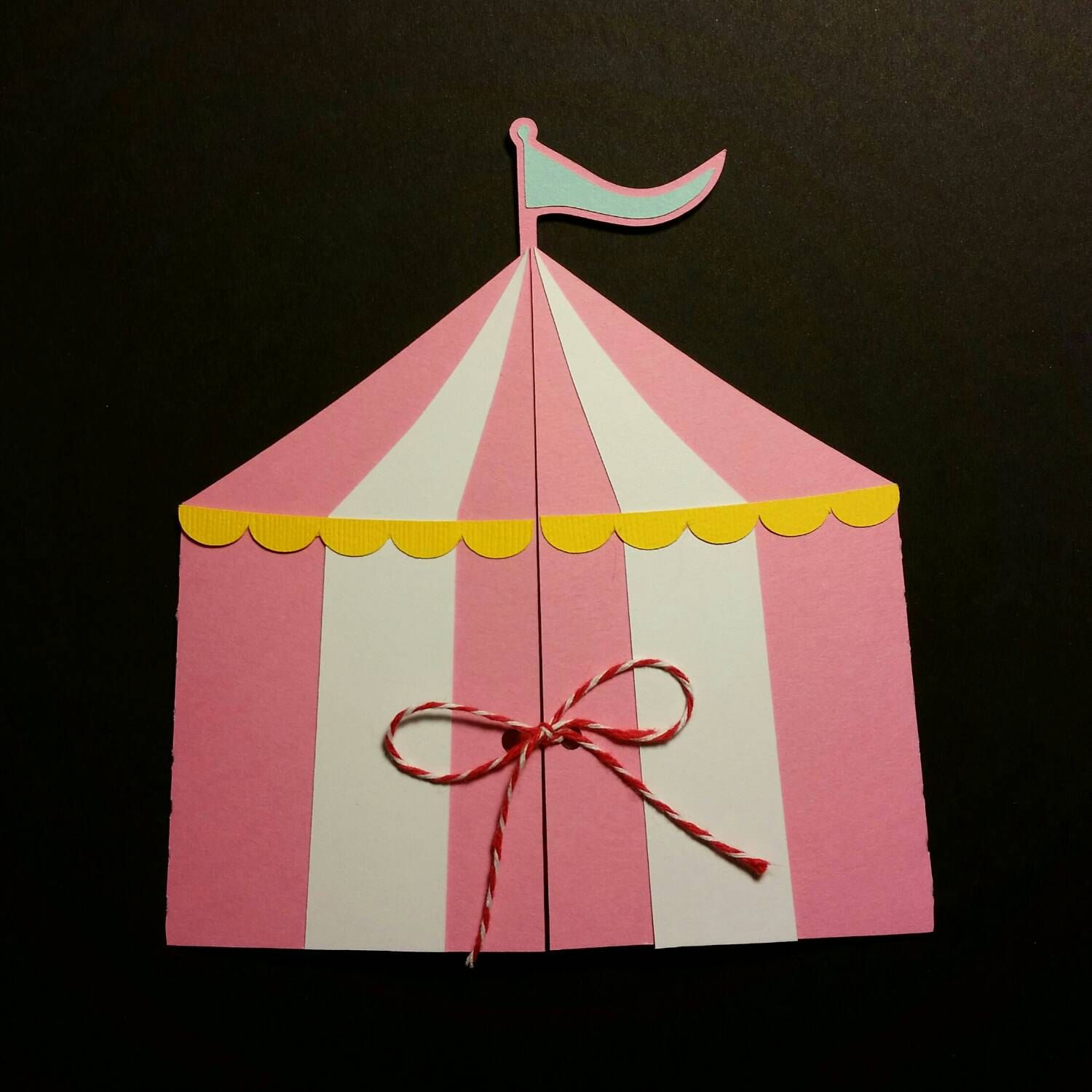 Handmade circus tent shaped invitations perfect for