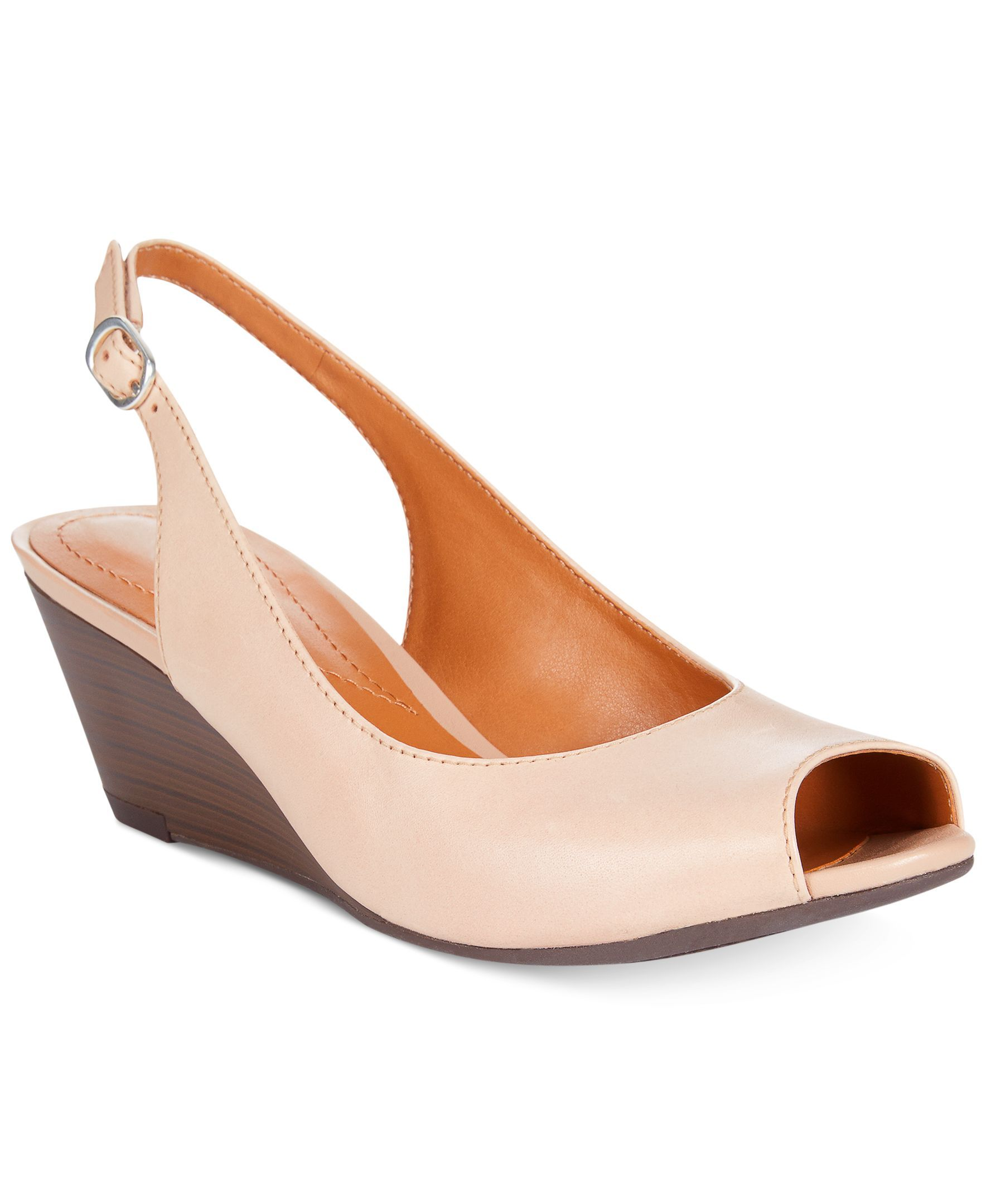 NEW CLARKS BRIELLE APRIL NUDE LEATHER WEDGE SANDALS WIDE FIT