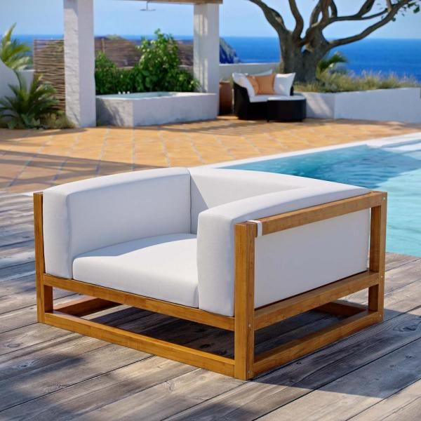 Modway Newbury Natural Teak Wood Lounge Chair With White Cushions
