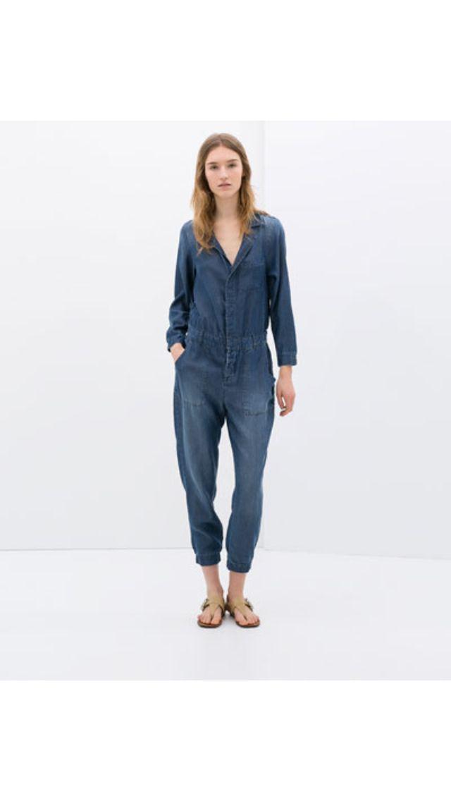 bc732982 Zara denim jumpsuit RM249 | Current Obsession | Denim vestido ...