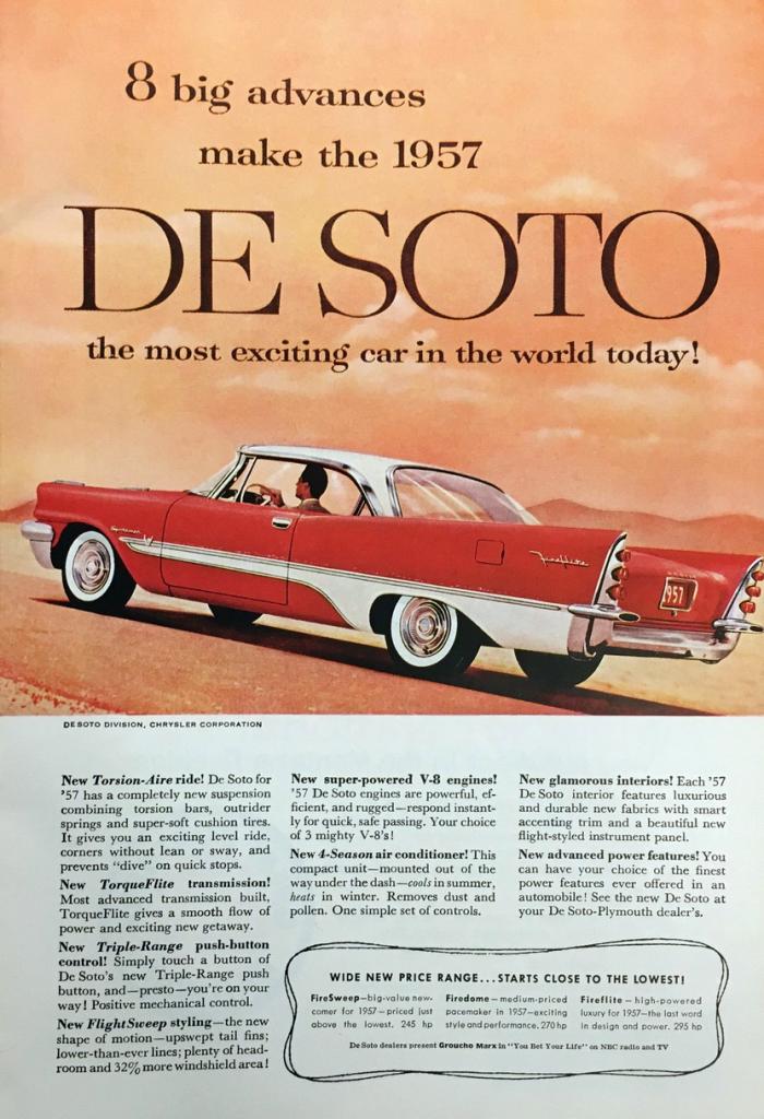 1957 Desoto Ad Car Advertising Desoto Desoto Cars